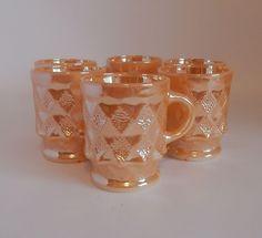 Six Fire King Anchor Hocking Peach Luster Mugs