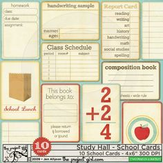 Study Hall - School Cards by Jen Allyson - Two Peas in a Bucket