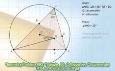 Dynamic Geometry Problem 892: Triangle, Angle, 60 degrees, Orthocenter, Circumcenter. GeoGebra, HTML5 Animation for Tablets (iPad, Nexus). Levels: School,  College, Mathematics Education.