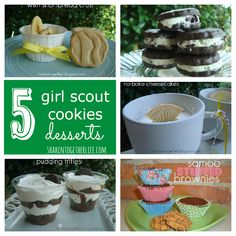 shaken together: 5 Girl Scout cookies desserts for National Girl Scout Cookie Day (bake sale cookies girl scouts) Cookie Desserts, Just Desserts, Cookie Recipes, Delicious Desserts, Dessert Recipes, Yummy Food, Tasty, Bake Sale Cookies, Gs Cookies