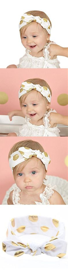 Girls Gilding Headbands, Misaky Bowknot Hair Accessories For Infant Hair Band (Fres Size, White)