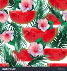 Watermelons, Tropical Flowers, Hibiscus, Palm Leaves, Seamless Vector Floral Pattern Background - 439653625 : Shutterstock
