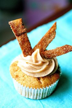 Churro Cupcakes - Buttery Cinnamon Cupcake, Dulce de Leche Filling, Fried Tortilla Strips Dusted in Cinnamon-Sugar and a Cinnamon Cream Cheese Frosting