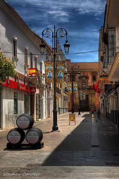 Street in Sanlucar de Barrameda, Spain, at the end of the Feria.
