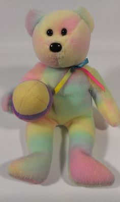 Ty Beanie Babies Tye Dye Pastel Color Teddy Bear Stuffed Animal Plush EGGS 2006  #TyBeanieBabies