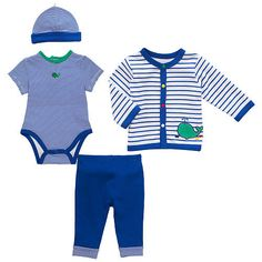 Little Me Boys' 4 Piece Blue/White Whale Layette Set with Short Sleeve Bodysuit, Cardigan, Pants and Hat