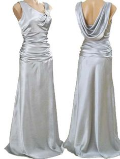 Vintage Inspired Silver Satin Draped Back Evening Gown-Prom Dress-Wedding Dress