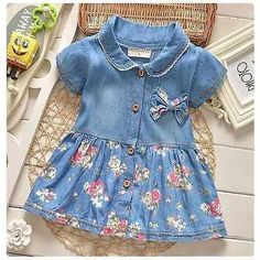 Denim Baby Girl Summer Dress Short Sleeve with Bow-knot Flower