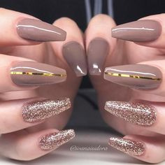 Nail art Christmas - the festive spirit on the nails. Over 70 creative ideas and tutorials - My Nails Nude Nails, Nail Manicure, Acrylic Nails, Nail Polish, Coffin Nails, Gorgeous Nails, Pretty Nails, Uñas Color Cafe, Hair And Nails