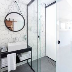 Looking for some bathroom inspiration for an upcoming bathroom renovation. How do you feel about hexagon tiles? Laundry In Bathroom, Bathroom Renos, Bathroom Inspo, White Bathroom, Bathroom Inspiration, Small Bathroom, Bathroom Ideas, Bathroom Designs, Shower Ideas