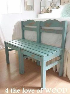 Ideas for upcycled furniture repurposed chair bench Refurbished Furniture, Repurposed Furniture, Furniture Makeover, Painted Furniture, Repurposed Wood, Furniture Projects, Furniture Making, Diy Furniture, Furniture Design