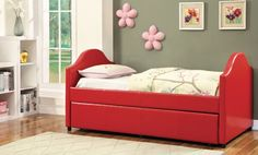 Furniture Of America Cresson Red Day Bed with Trundle CM1959RD For $344