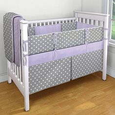 4 Piece Crib Set - FREE MONOGRAM - Purple with Gray and White Polka Dots on Etsy, $250.00