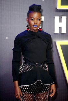 """delevingned: """" Lupita Nyong'o attends the European Premiere of 'Star Wars: The Force Awakens' at Leicester Square on December 16, 2015 in London, England. """""""