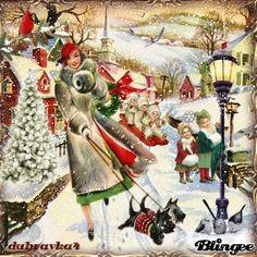 Winter in Christmas-dubravka Vintage Christmas Images, Whimsical Christmas, Merry Christmas To All, Christmas Scenes, Cozy Christmas, Retro Christmas, Christmas Time, Animated Christmas Pictures, Christmas Photos