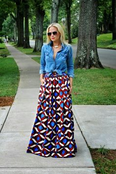 How to wear a maxi skirt | Chambray, Chambray top and Magenta