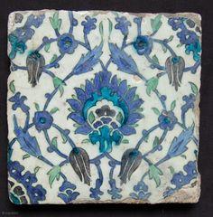Syrian tile. Ottoman period. 16th century. 23 x 23cm [ref. Hali 163 p.48 Aleppo tiles]