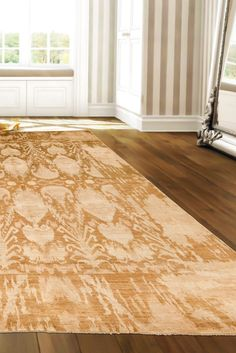 Showing true beauty with an antique-inspired style, this Ikat rug is a work of art and a good fit for any style room. The intricacies of the design pattern show the true craftsmanship of hand knotting. #goldrugs #buygoldrugs #buygoldrugsonline #rugknots Oriental Design, Large Area Rugs, Gold Rugs, Ivory Rugs, Floor Decor, True Beauty, Rugs Online, Neutral Colors, Ikat