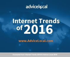 It's that time again, Mary Meeker of Kleiner Perkins Caufield & Byers (KPCB) has released their 2016 internet trends report, and it is a treasure trove of information. Take a look at seven hot topics via Advice Local's infographic and detailed breakdown.