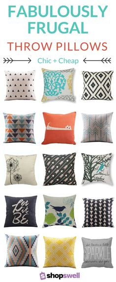 These throw pillows and covers scream designer label but at bargain prices. Who says your home can't be beautiful and you can still have cash in your wallet?