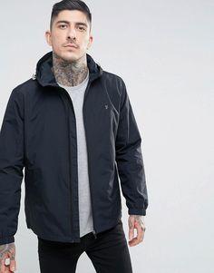 Farah Newbern Nylon Zip Through Hooded Jacket in Black - Black