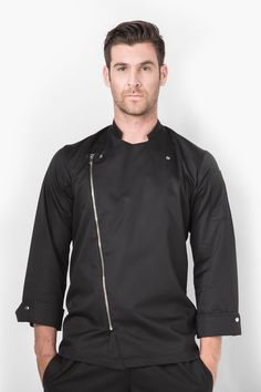 Fashion meets function in the kitchen with the Moto jacket. African Men Fashion, Mens Fashion, Moto Jacket, Chef Jackets, Blazer, Scrubs, Apron, Shirts, Outfits