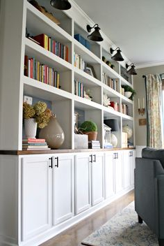 Diy Built In Bookcase . 22 Unique Diy Built In Bookcase Ideas . Built In Bookcase Luxury Diy Wall Unit New Diy Shelving Unit Wall Diy Living Room Decor, Living Room White, Living Room Storage, White Rooms, Diy Wall Decor, Diy Home Decor, Wall Cabinets Living Room, White Built Ins, Thrifty Decor Chick