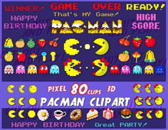 Pacman digital clipart pixel arcade games pixel by CutOutAndPlay