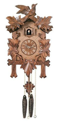 Product Features - Hand-carved in Germany - Cuckoo clock case features maple leaves and a bird - Cuckoo bird cuckoos the hour on the top of every hour - Accurate quartz movement - Two year limited war
