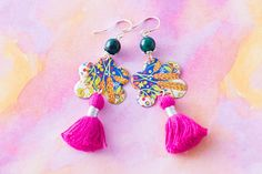 Pink Tassel Earrings with Colorful Vintage Tin and Dark Teal