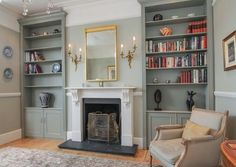 wall sconces and mirror above fireplace, built in alcove cabinets either side – fantastic room avesome Alcove Ideas Living Room, Living Room Shelves, New Living Room, Living Room Designs, Living Room Decor, Room Ideas, Living Room With Stairs, Built In Wardrobe Ideas Alcove, Built In Cupboards Living Room