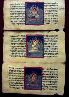 Mantra Book - Early 18th Century. Hand-written in Sanscrit and illustrated using real gold. (Windhorse Collection)