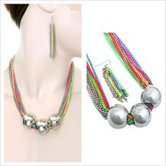 Multi-coloured Necklace with matching earrings #CatwalkFashion #Accessories #CatwalkAccessories #2013 #Spring #SpringFashion #Fashion #Colors #Colours #Brights #Neon #Darks #Classy #Sexy #Casual #Beauty #SmartCasual #Outfitoftheday #OOTD #PhotoOfTheDay #MakeUp #LooksforLess #Dress #Top #Ghutra #GhutraFashion #Hair #Model #Ladies #WomensFashion