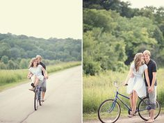 Bicycle engagement session in the Iowa countryside | Photo by Expressions Photography