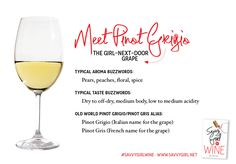 """Pinot Grigio / Pinot Gris cheat sheet for the Savvy Girl. Get the book """"Savvy Girl®, A Guide to Wine"""" to find out why it is the """"girl-next-d..."""