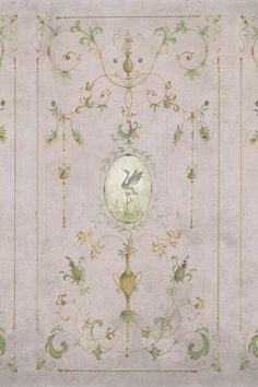 Close-up detail image of the Chinoiserie Panel Wallpaper Mural - Mirto Chai Seed green toned renaissance style pattern with bird in middle on grey background Rose Pink Wallpaper, Hand Painted Wallpaper, Unique Wallpaper, Wallpaper Panels, Print Wallpaper, Painting Wallpaper, Bathroom Wallpaper, Arabesque, Chinese Wallpaper