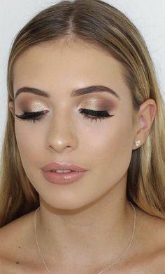 40 Top-Trending Make-up und Beauty 2019 zum Ausprobieren – Eye Makeup Bridal Hair And Makeup, Prom Makeup, Wedding Hair And Makeup, Simple Bridal Makeup, Bridal Makeup For Blondes, Romantic Wedding Makeup, Teen Makeup, Full Makeup, Homecoming Makeup