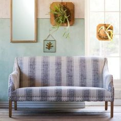 Wide Stripe Settee with two-tone wall.