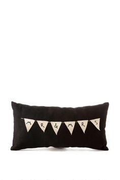 """An excellent addition to a last minute wedding gift, the Mr. & Mrs. Small Flag Pillow will delight the newlyweds on your list. Brides looking to add a rustic touch to their wedding will love this pillow for a bit of side table decor!<br /> <br /> - 11.5"""" length x 5.5"""" width<br /> - Imported<br />"""