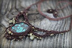 Turquoise Macrame Necklace Healing Gemstone by MahadevaCraft