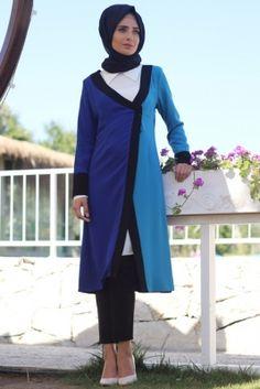 Nur Banu Saks Mavi Bahar Ceket Tesettür Tunik