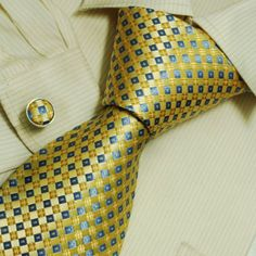 Blue checkers men ties gold plaids for best man gifts formalwear silk tie cufflinks set A2093 $23.99
