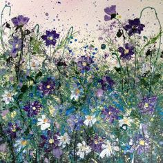 """ARTFINDER: Mini cosmos and Daisy sparkle by Jane Morgan - A small original painting of cosmos and Daisy flowers, with all the love, sparkle and splash of its much bigger sister! This will fit a standard 8""""X 8"""" mount..."""