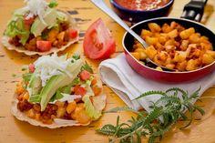 Chorizo and Potato Tostadas – a mountain of ingredients and of flavor.