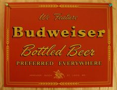 Pin Budweiser Vintage Red Label Tin Metal Sign Bud Beer Bar Garage Retro Man Cave Brewery 31A