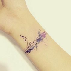 Music Inspired Watercolor Tattoo Design. #AwesomeTattooIdeas