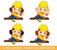Construction Girls Clipart Vector Construction Clipart Girl | Etsy Construction For Kids, Construction Crafts, Construction Birthday Parties, Girls Clips, Girl Clipart, Summer Crafts For Kids, Take Me Up, Clip Art, Girls Image