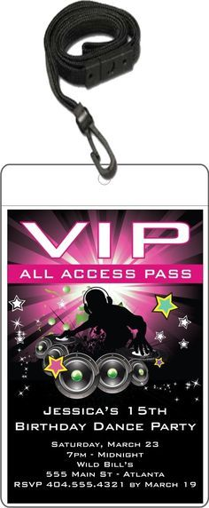 Nightclub DJ Dance Party VIP Pass Invitation w Lanyard - Pink Personalized Party Invites