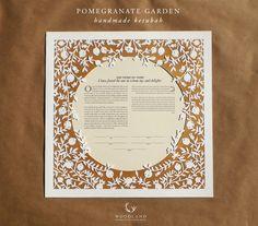 papercut ketubah   wedding vows   anniversary gift   Pomegranate Garden