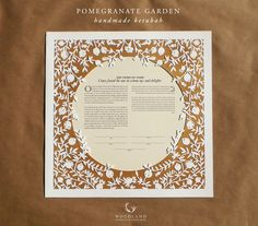 Original papercut ketubah, handmade by Naomi Shiek Design: Pomegranate Garden Size: 16X16 inches Papercut Paper: Fabriano Academia 220 g/m2, white eggshell texture. Default text color: black Available text options are: Orthodox, Conservative, Egalitarian, Reform, Same Sex, Secular, Quaker, Christian, Your Own (if taken from another source, please obtain permission to use it first). Text templates can be edited as you wish at no extra cost. *Contact me to get the link to my text & fon...